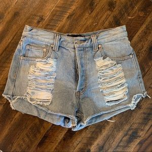 MinkPink denim shorts. Style name: Slasher
